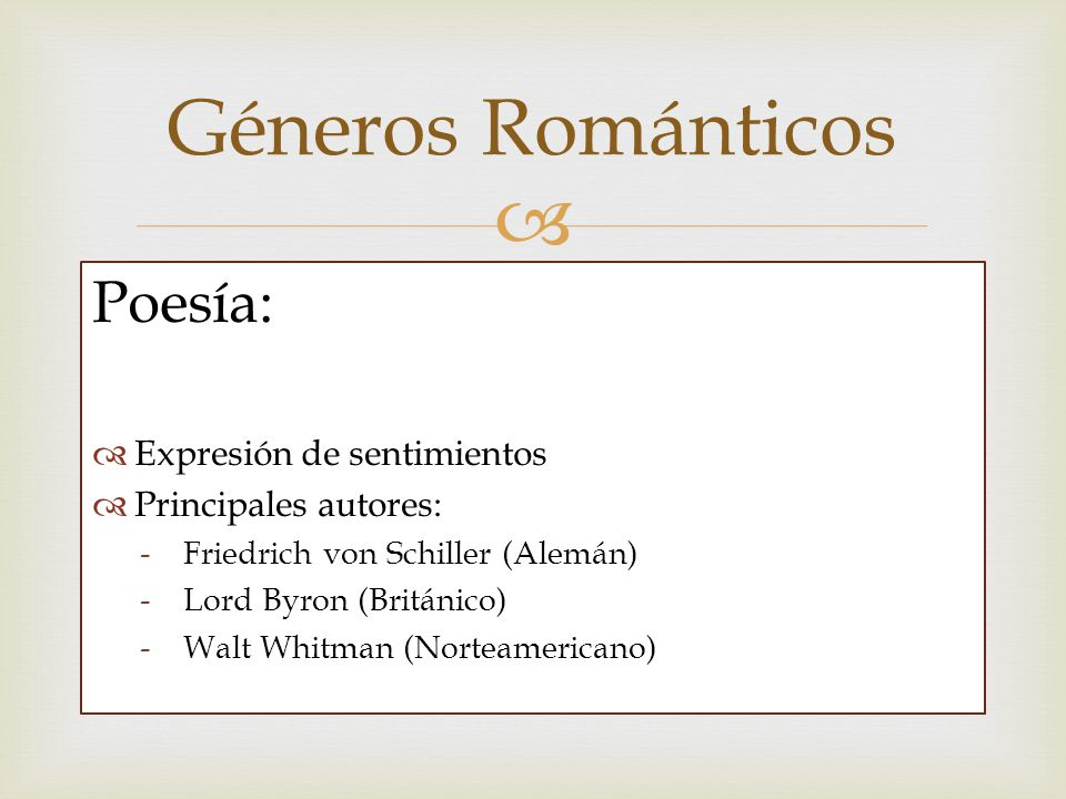 Géneros Románticos Poesía: Expresión de sentimientos