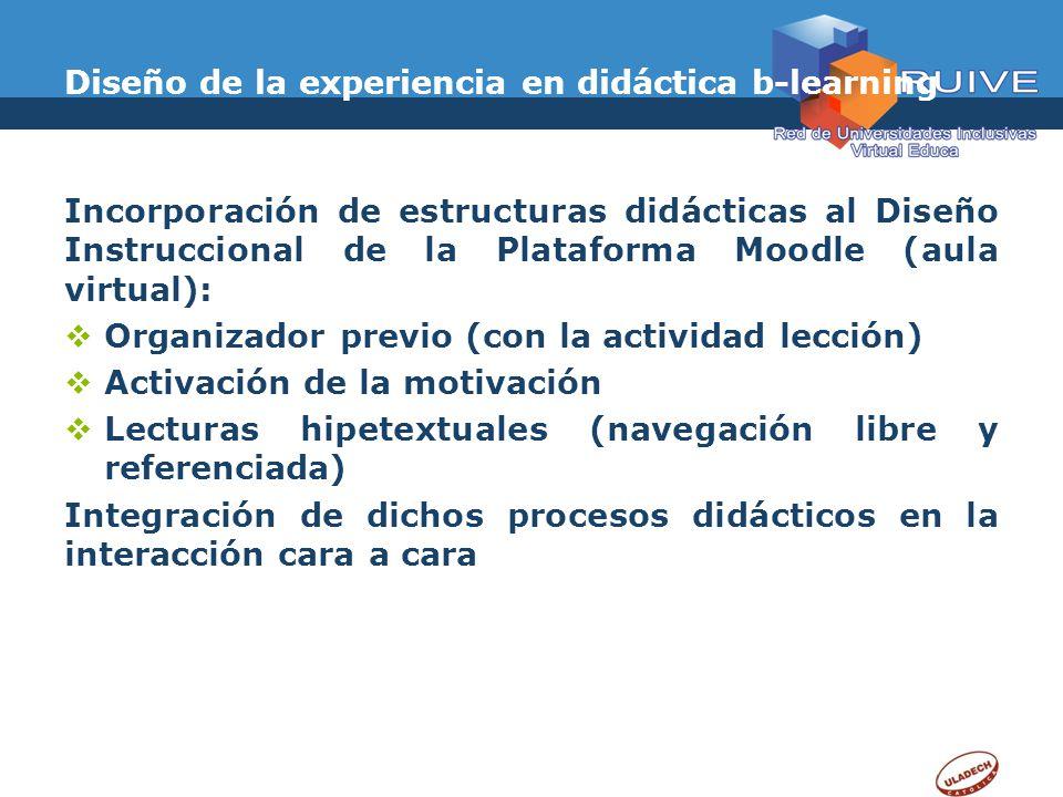 Diseño de la experiencia en didáctica b-learning