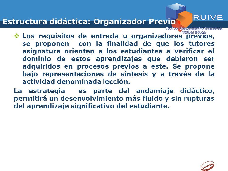 Estructura didáctica: Organizador Previo