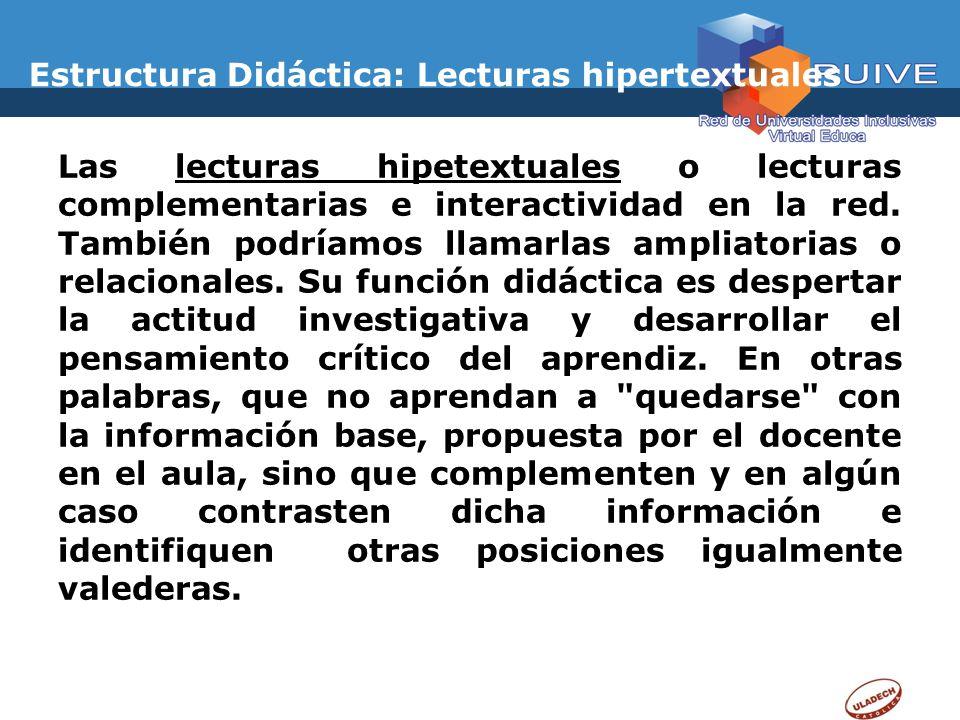 Estructura Didáctica: Lecturas hipertextuales
