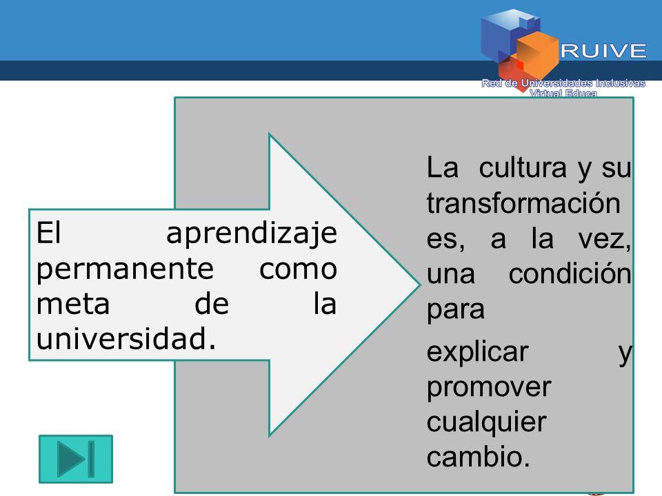 El aprendizaje permanente como meta de la universidad.