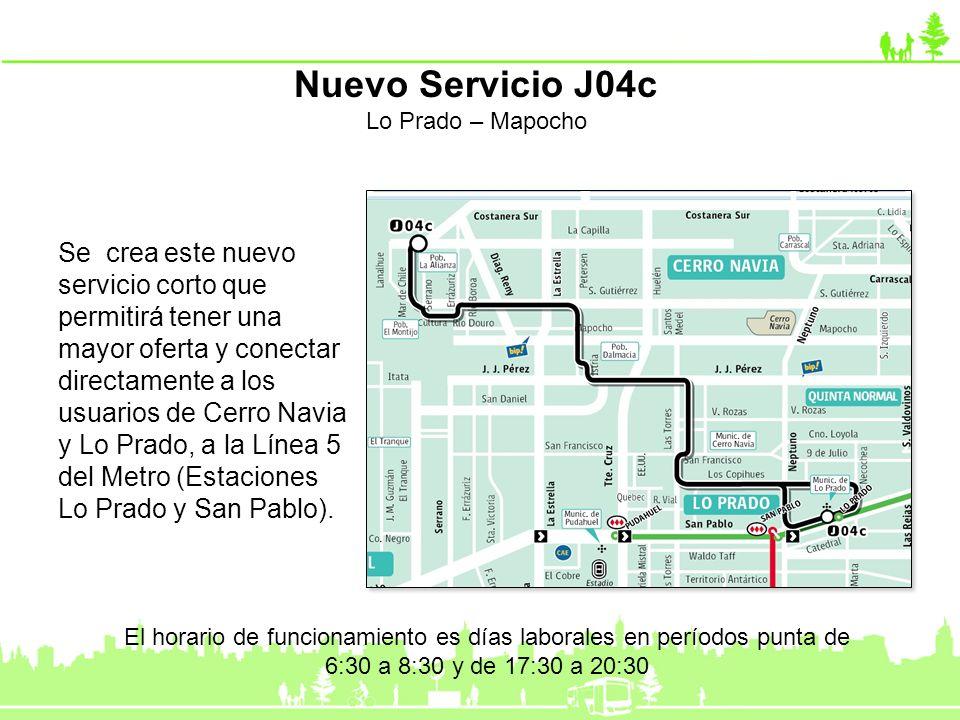 Nuevo Servicio J04c Lo Prado – Mapocho.