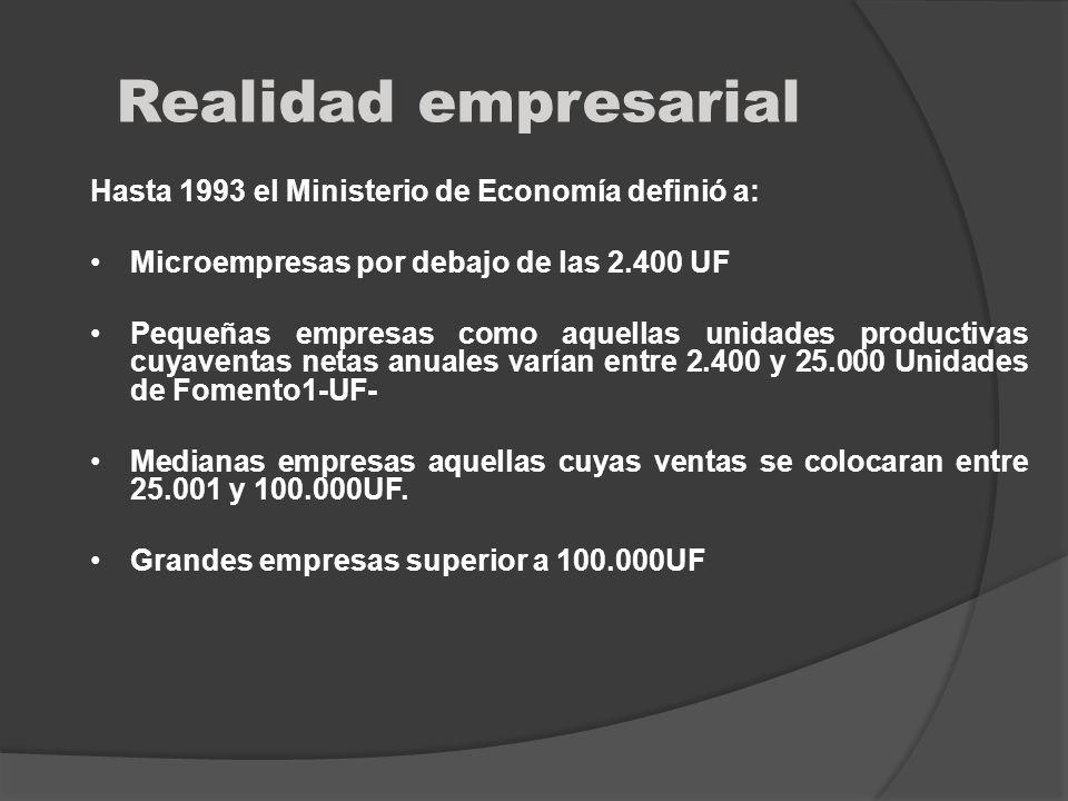 Realidad empresarial Hasta 1993 el Ministerio de Economía definió a: