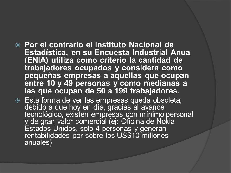 Por el contrario el Instituto Nacional de Estadística, en su Encuesta Industrial Anua (ENIA) utiliza como criterio la cantidad de trabajadores ocupados y considera como pequeñas empresas a aquellas que ocupan entre 10 y 49 personas y como medianas a las que ocupan de 50 a 199 trabajadores.