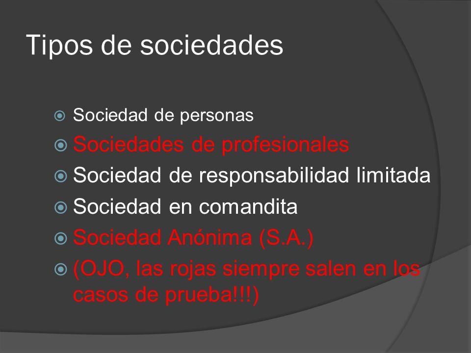 Tipos de sociedades Sociedades de profesionales