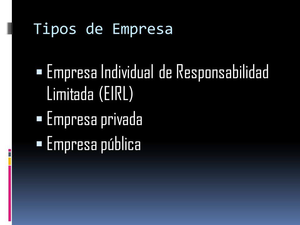 Empresa Individual de Responsabilidad Limitada (EIRL) Empresa privada
