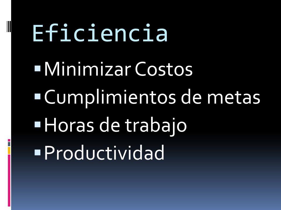 Eficiencia Minimizar Costos Cumplimientos de metas Horas de trabajo