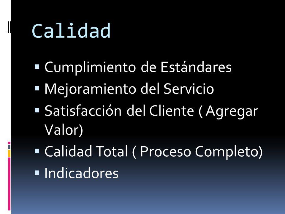 Calidad Cumplimiento de Estándares Mejoramiento del Servicio