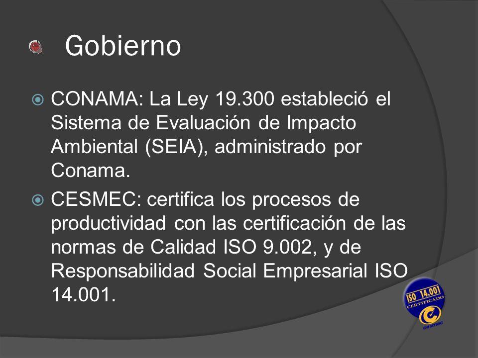 GobiernoCONAMA: La Ley 19.300 estableció el Sistema de Evaluación de Impacto Ambiental (SEIA), administrado por Conama.