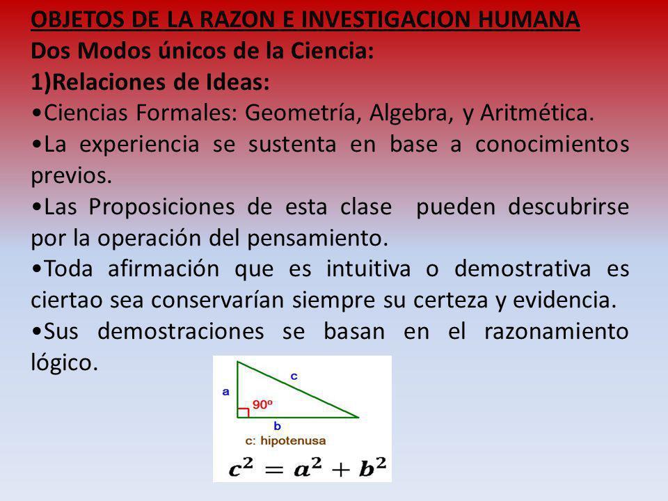 OBJETOS DE LA RAZON E INVESTIGACION HUMANA