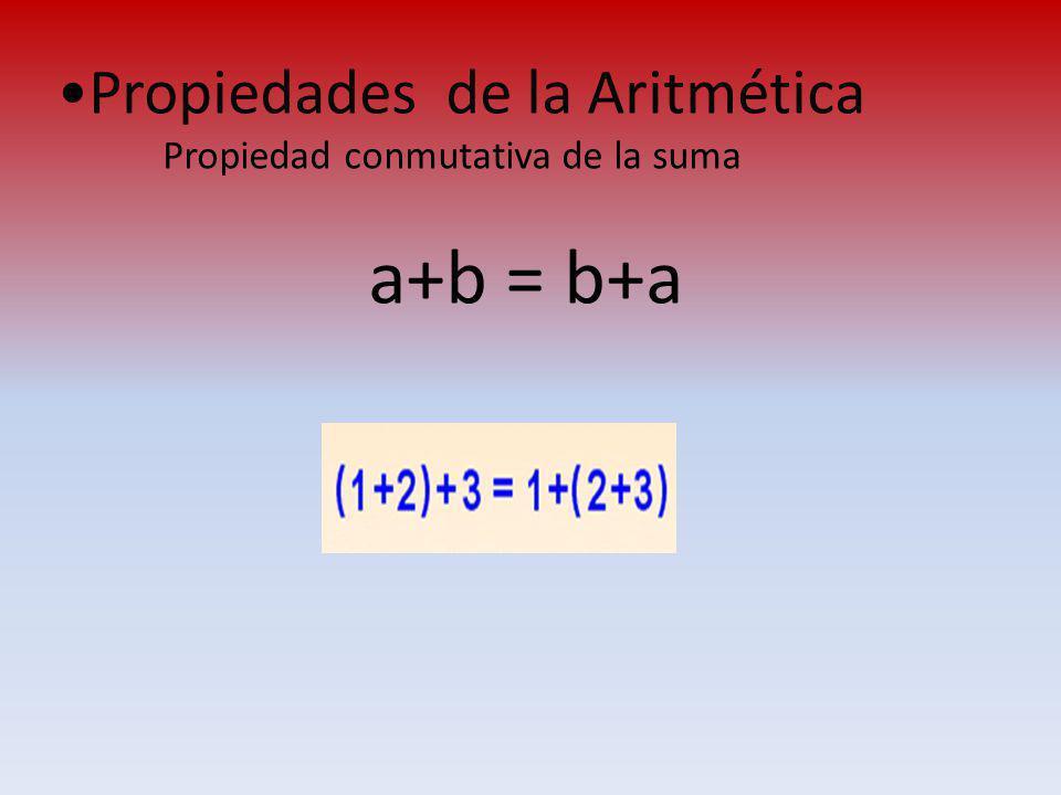 a+b = b+a Propiedades de la Aritmética