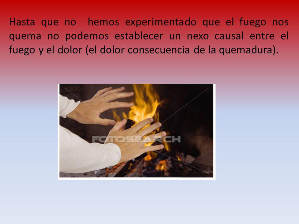 Hasta que no hemos experimentado que el fuego nos quema no podemos establecer un nexo causal entre el fuego y el dolor (el dolor consecuencia de la quemadura).