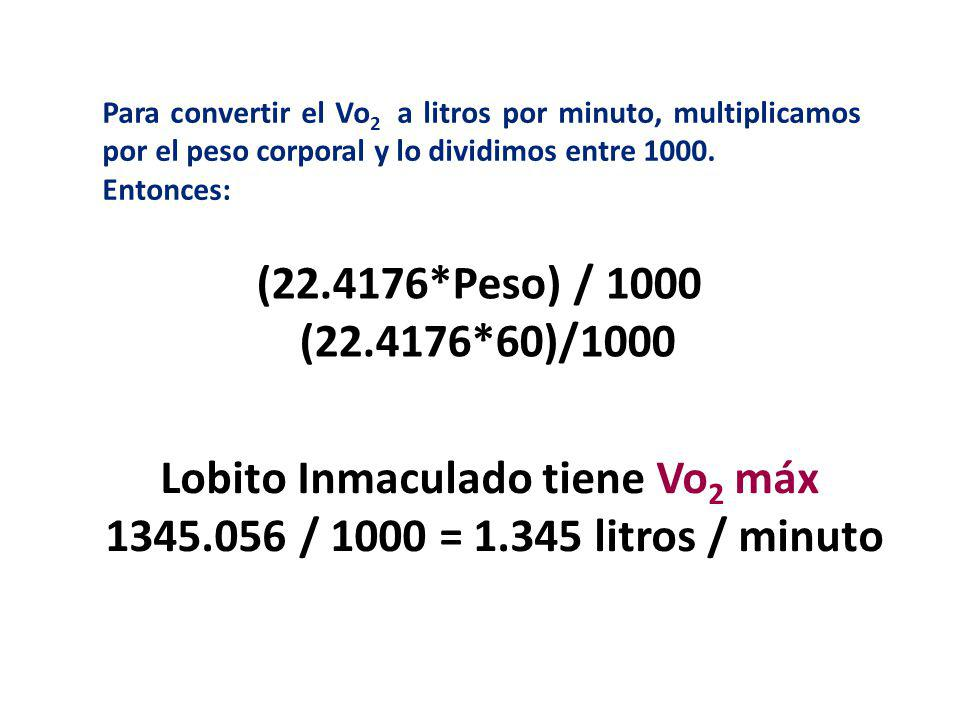 Lobito Inmaculado tiene Vo2 máx