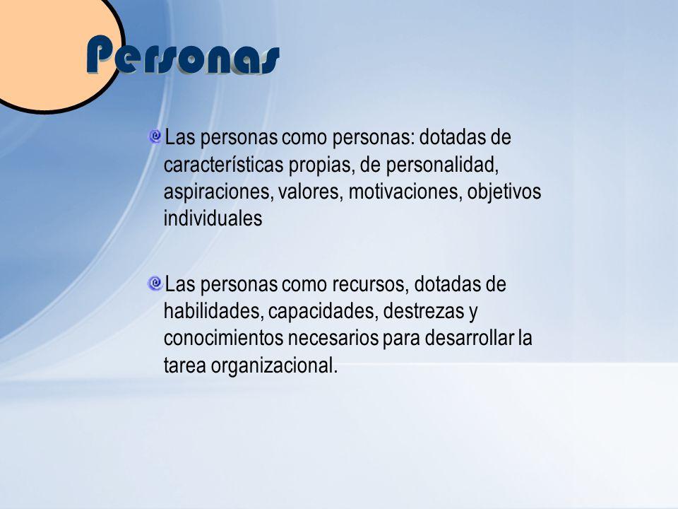 Personas Las personas como personas: dotadas de características propias, de personalidad, aspiraciones, valores, motivaciones, objetivos individuales.