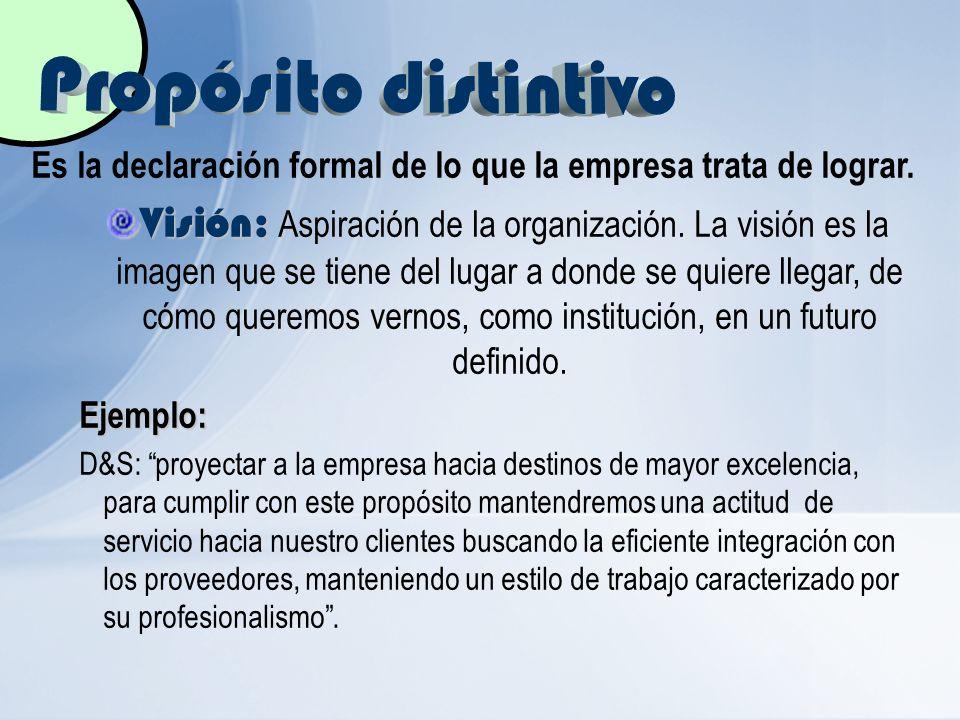 Propósito distintivo Es la declaración formal de lo que la empresa trata de lograr.