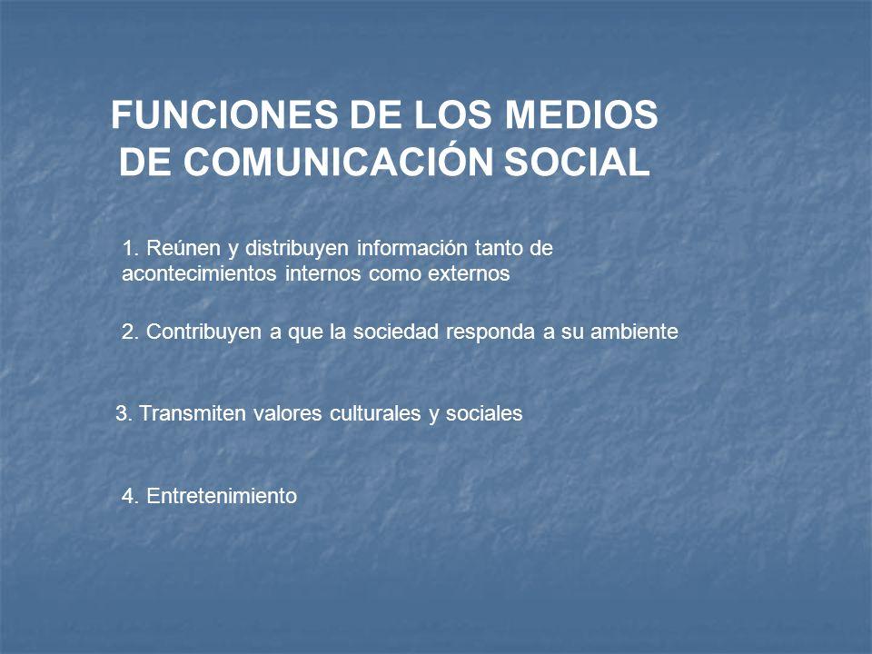FUNCIONES DE LOS MEDIOS DE COMUNICACIÓN SOCIAL