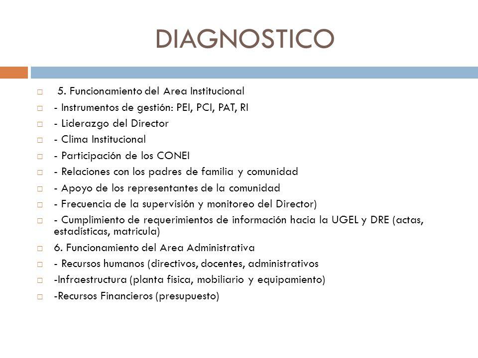 DIAGNOSTICO 5. Funcionamiento del Area Institucional