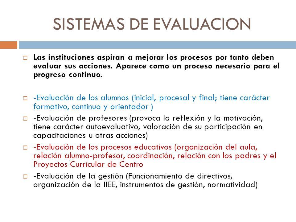 SISTEMAS DE EVALUACION