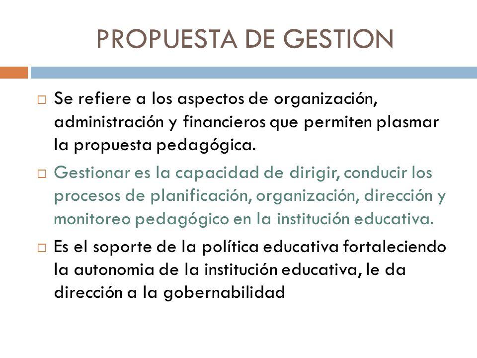 PROPUESTA DE GESTION Se refiere a los aspectos de organización, administración y financieros que permiten plasmar la propuesta pedagógica.