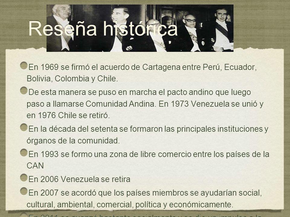 Reseña histórica En 1969 se firmó el acuerdo de Cartagena entre Perú, Ecuador, Bolivia, Colombia y Chile.