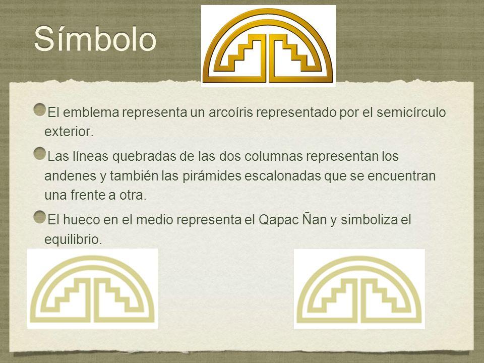 SímboloEl emblema representa un arcoíris representado por el semicírculo exterior.