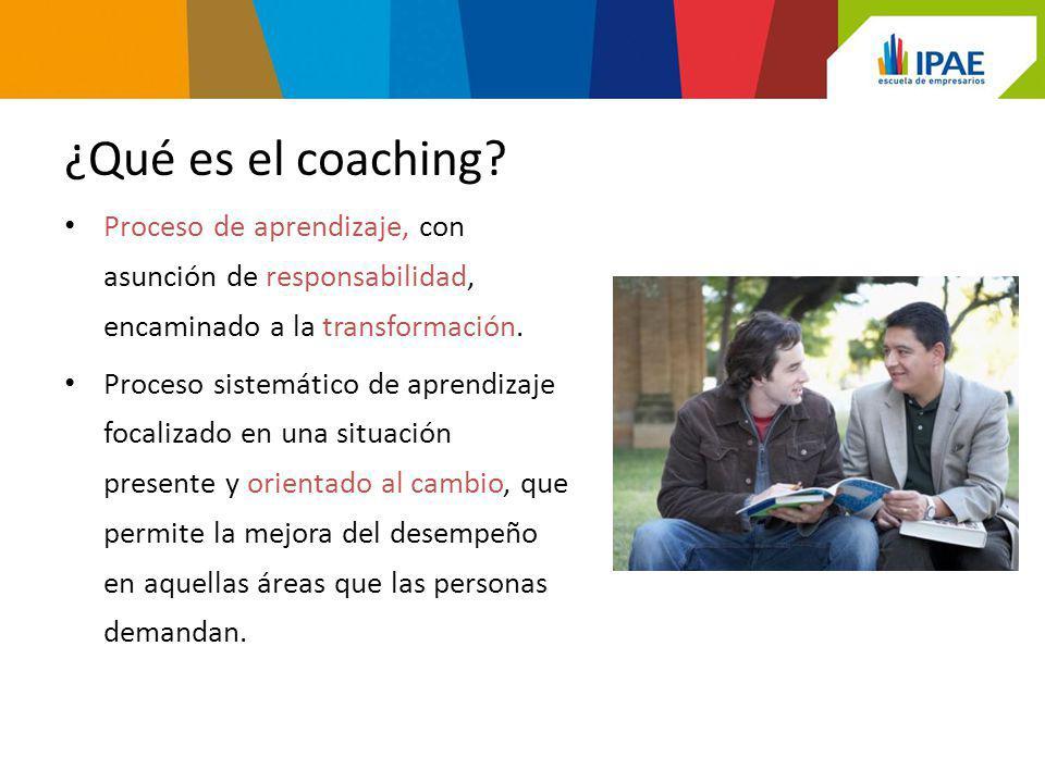 ¿Qué es el coaching Proceso de aprendizaje, con asunción de responsabilidad, encaminado a la transformación.