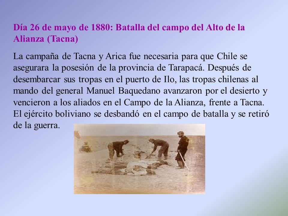 Día 26 de mayo de 1880: Batalla del campo del Alto de la Alianza (Tacna)