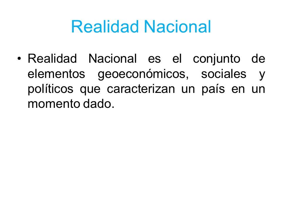 Realidad Nacional Realidad Nacional es el conjunto de elementos geoeconómicos, sociales y políticos que caracterizan un país en un momento dado.