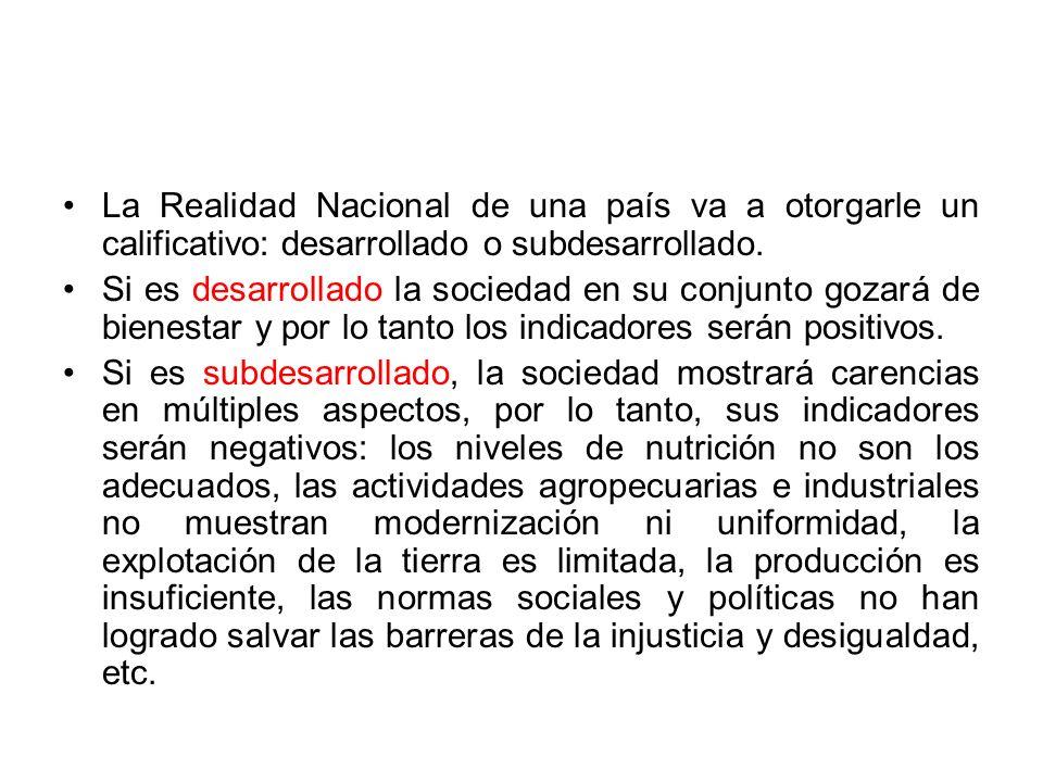 La Realidad Nacional de una país va a otorgarle un calificativo: desarrollado o subdesarrollado.
