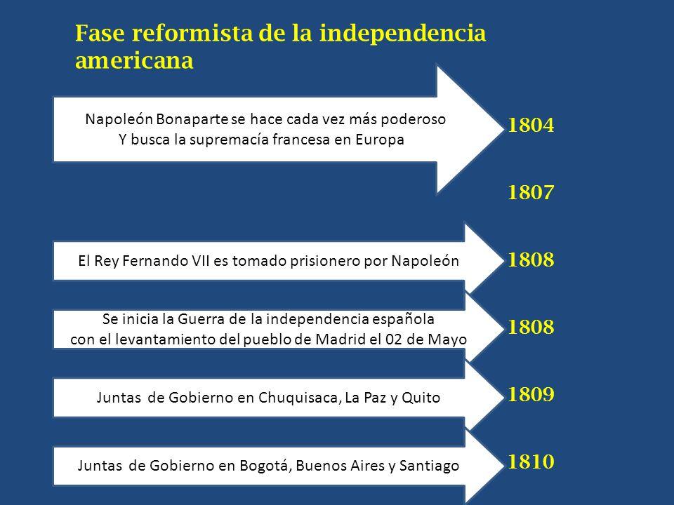 Fase reformista de la independencia americana
