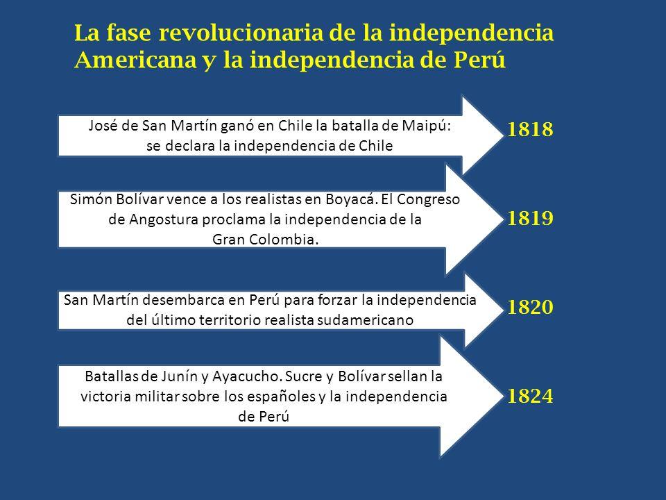 La fase revolucionaria de la independencia Americana y la independencia de Perú