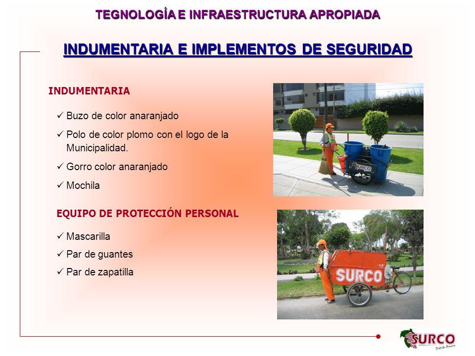 INDUMENTARIA E IMPLEMENTOS DE SEGURIDAD