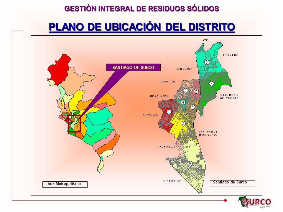 GESTIÓN INTEGRAL DE RESIDUOS SÓLIDOS PLANO DE UBICACIÓN DEL DISTRITO