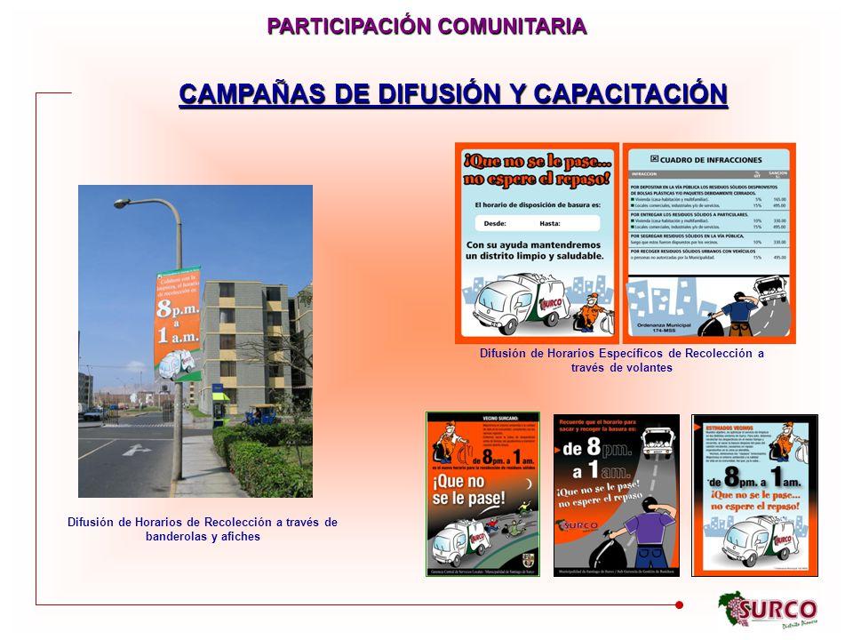 CAMPAÑAS DE DIFUSIÓN Y CAPACITACIÓN