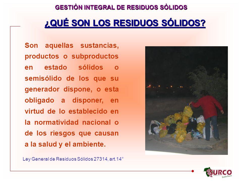 GESTIÓN INTEGRAL DE RESIDUOS SÓLIDOS ¿QUÉ SON LOS RESIDUOS SÓLIDOS