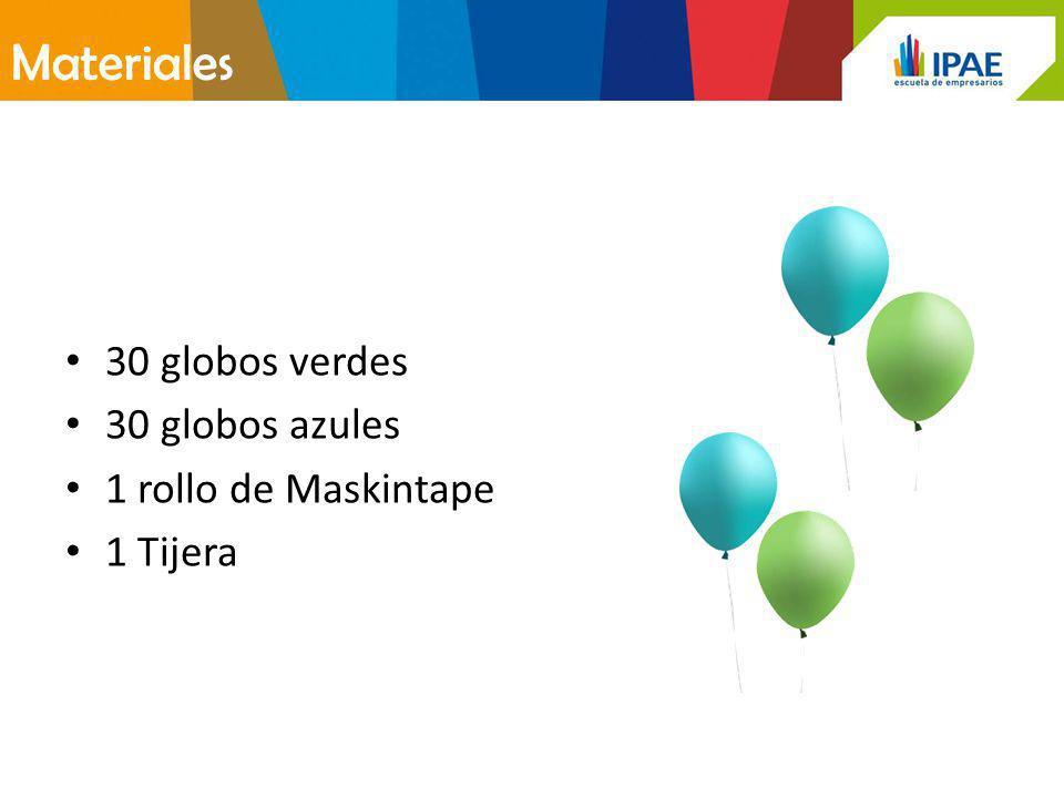 Materiales 30 globos verdes 30 globos azules 1 rollo de Maskintape