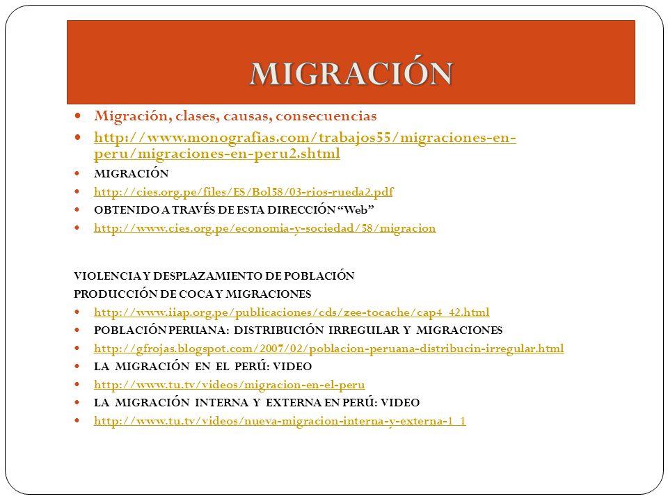MIGRACIÓN Migración, clases, causas, consecuencias