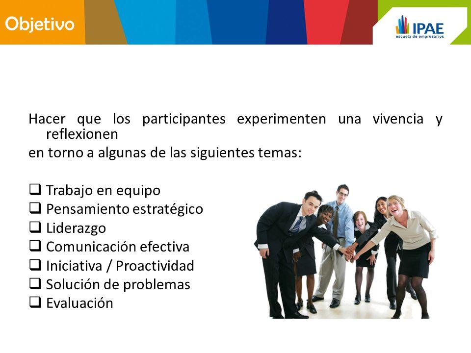 Objetivo Hacer que los participantes experimenten una vivencia y reflexionen. en torno a algunas de las siguientes temas: