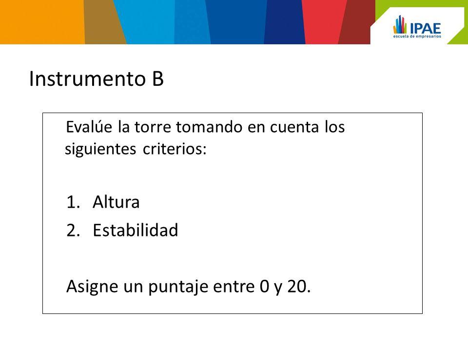 Instrumento B Altura Estabilidad Asigne un puntaje entre 0 y 20.