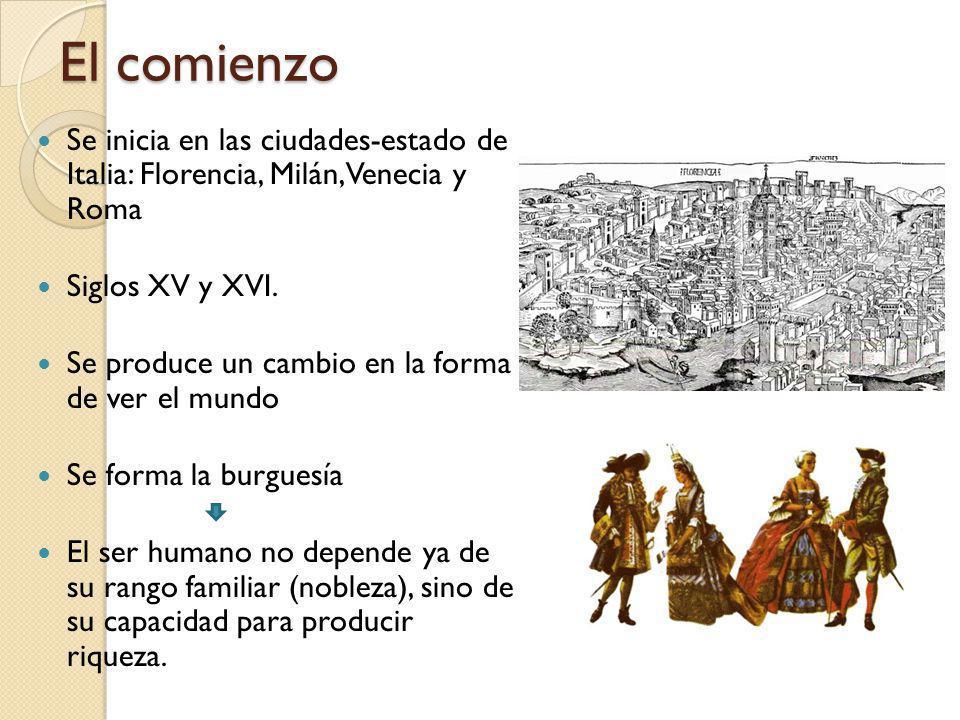 El comienzo Se inicia en las ciudades-estado de Italia: Florencia, Milán, Venecia y Roma. Siglos XV y XVI.