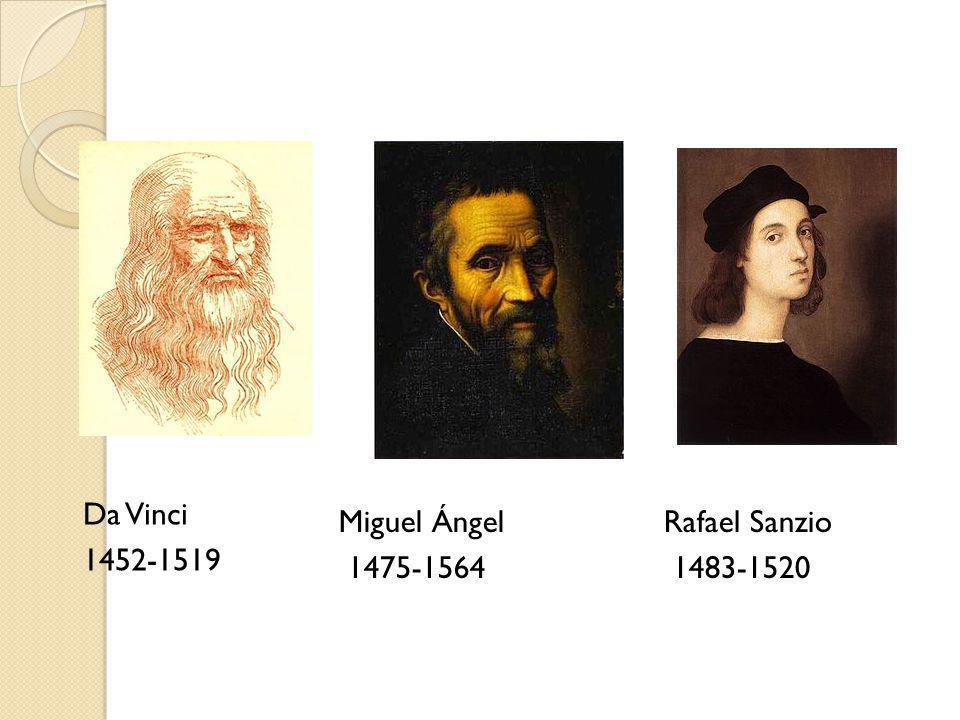 Da Vinci 1452-1519 Miguel Ángel 1475-1564 Rafael Sanzio 1483-1520