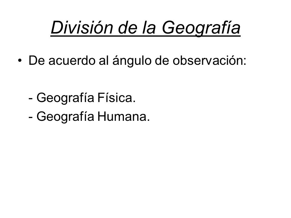 División de la Geografía