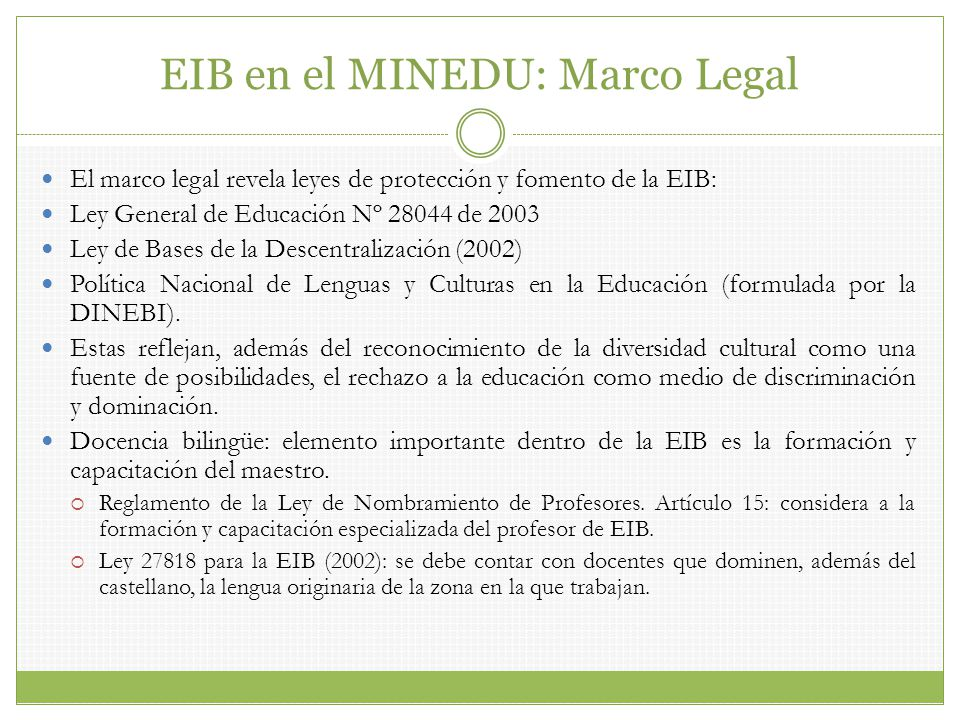 EIB en el MINEDU: Marco Legal