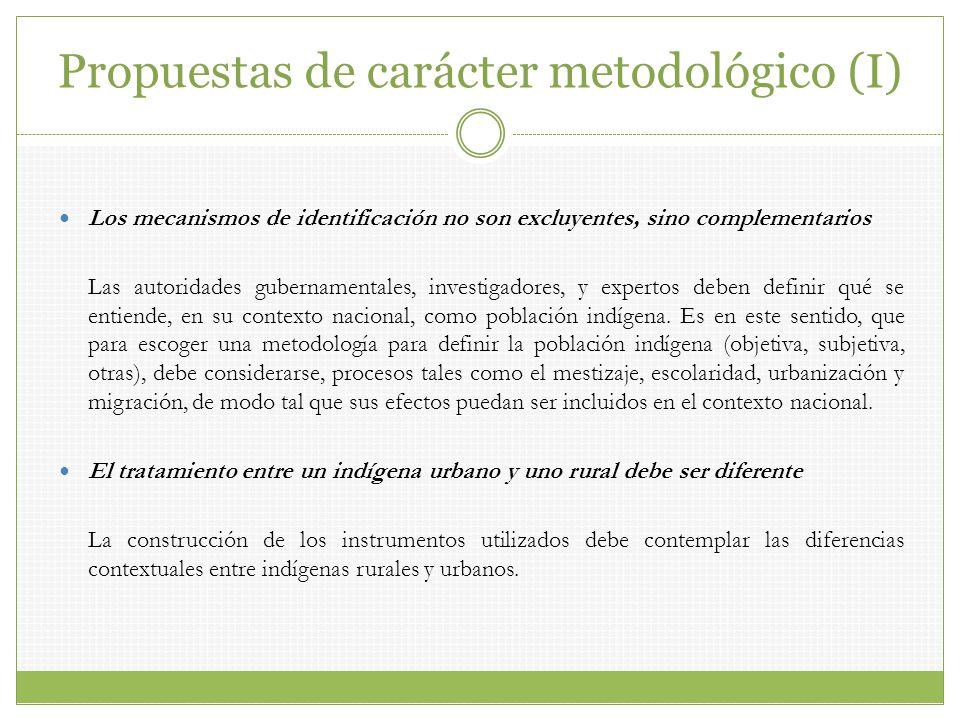 Propuestas de carácter metodológico (I)