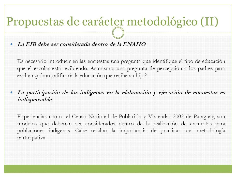Propuestas de carácter metodológico (II)