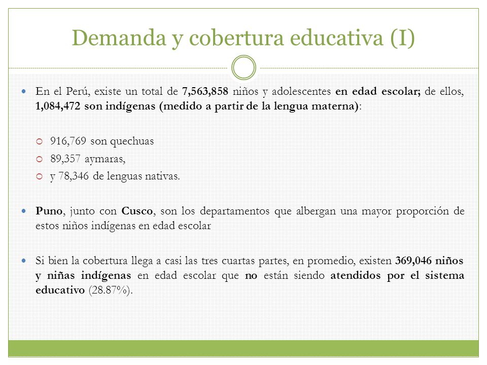 Demanda y cobertura educativa (I)
