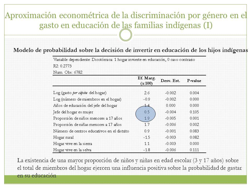Aproximación econométrica de la discriminación por género en el gasto en educación de las familias indígenas (I)