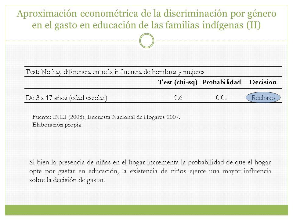 Aproximación econométrica de la discriminación por género en el gasto en educación de las familias indígenas (II)