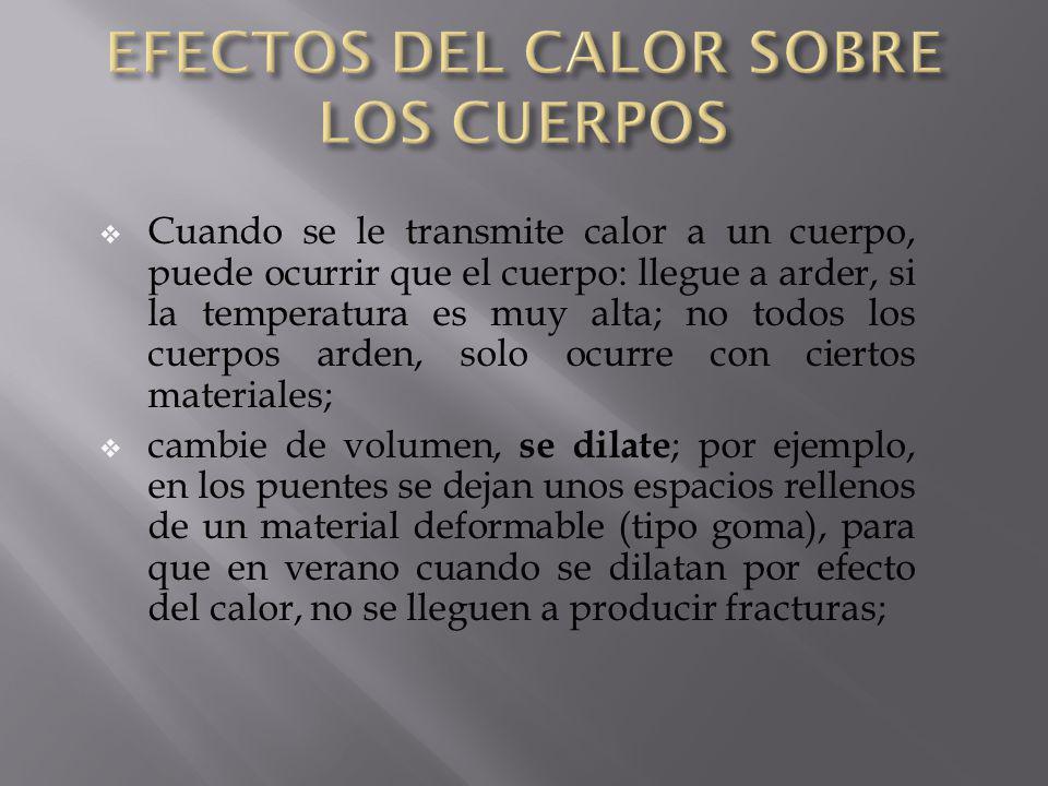 EFECTOS DEL CALOR SOBRE LOS CUERPOS