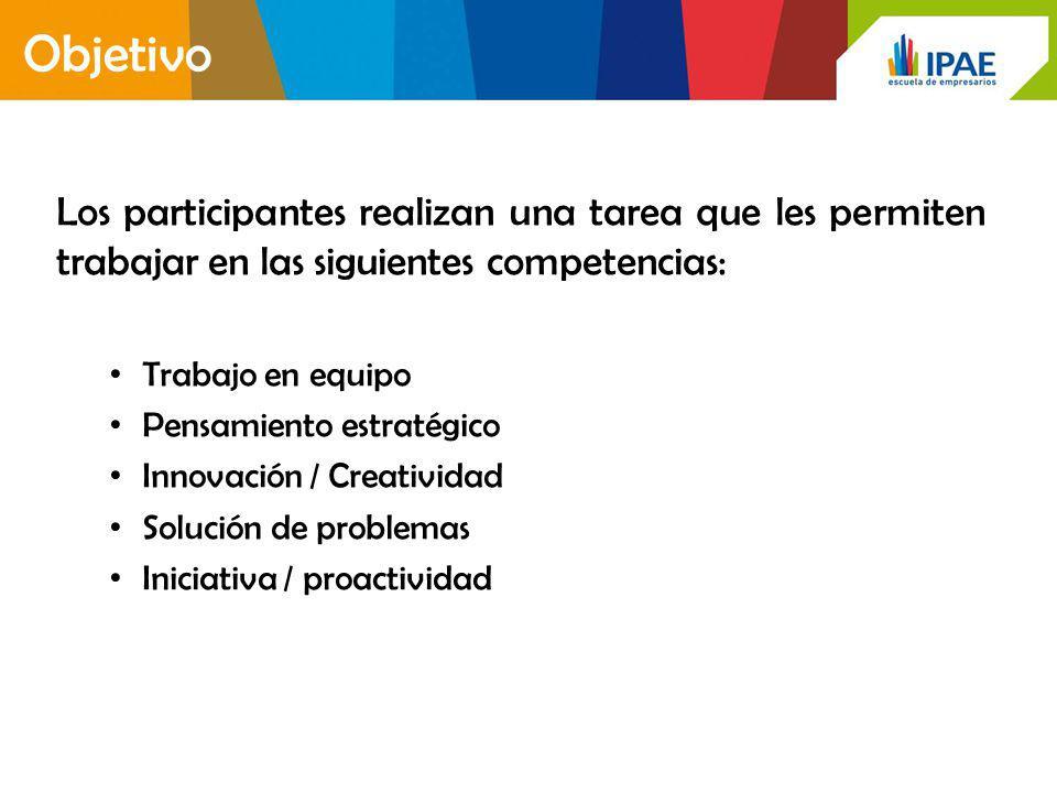 Objetivo Los participantes realizan una tarea que les permiten trabajar en las siguientes competencias: